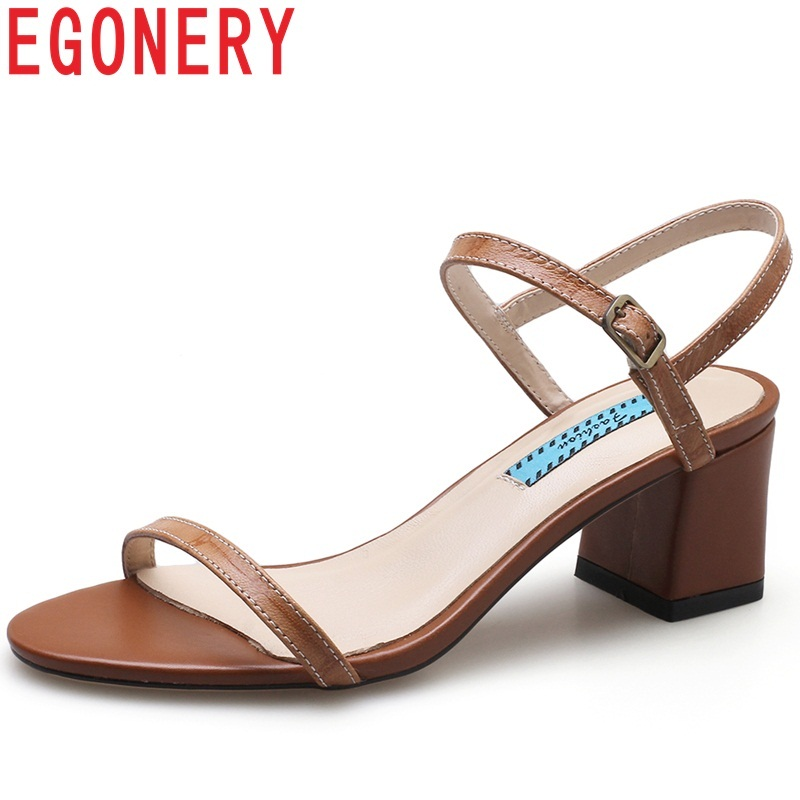 EGONERY new summer cow leather sandals high square heel front and rear strap buckle concise casual large size fashion shoes venchale 2018 summer new fashion sandals wedges platform women shoes height heel 10 cm buckle strap casual cow leather sandals