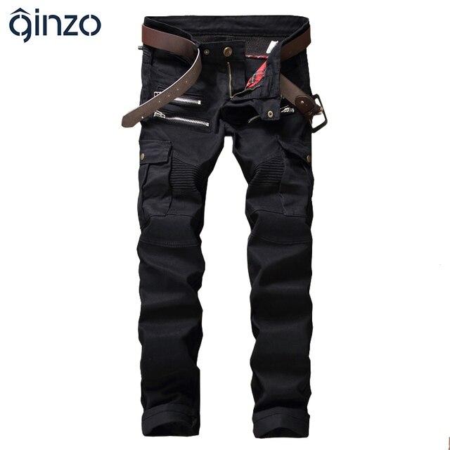 Hombres cremalleras negro plisado jeans motorista para moto casual stretch denim bolsillos pantalones cargo pantalones largos rectos delgados