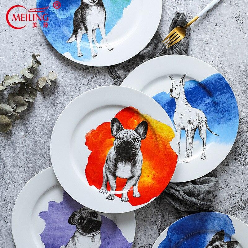 Assiette en porcelaine pour chiens 10 pouces | Os plats à dîner en porcelaine assiette de service mignonne, Art de collection, cadeau d'amoureux, plateau en céramique pour animaux