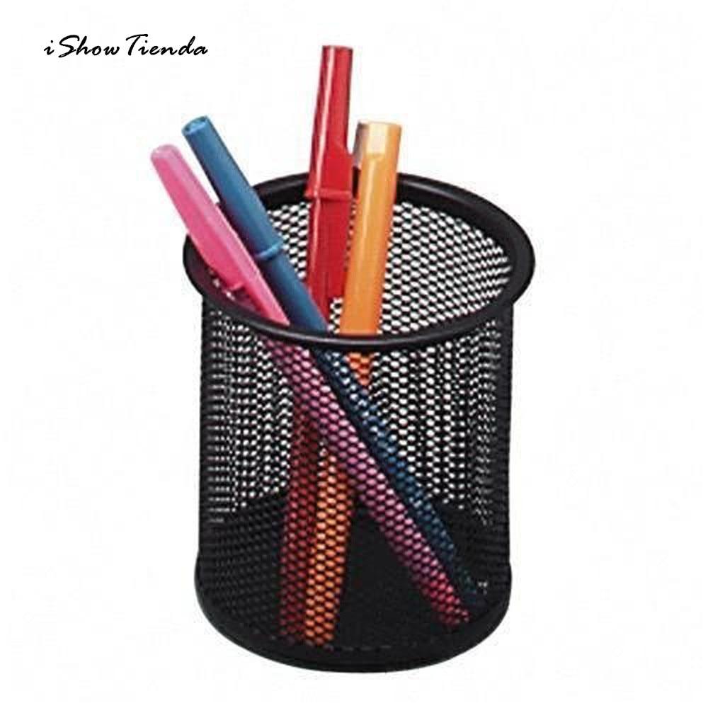 ISHOWTIENDA Iron-Box Pencil-Cylinder Desktop-Organizer Sundry Study Creative Grid 1pc