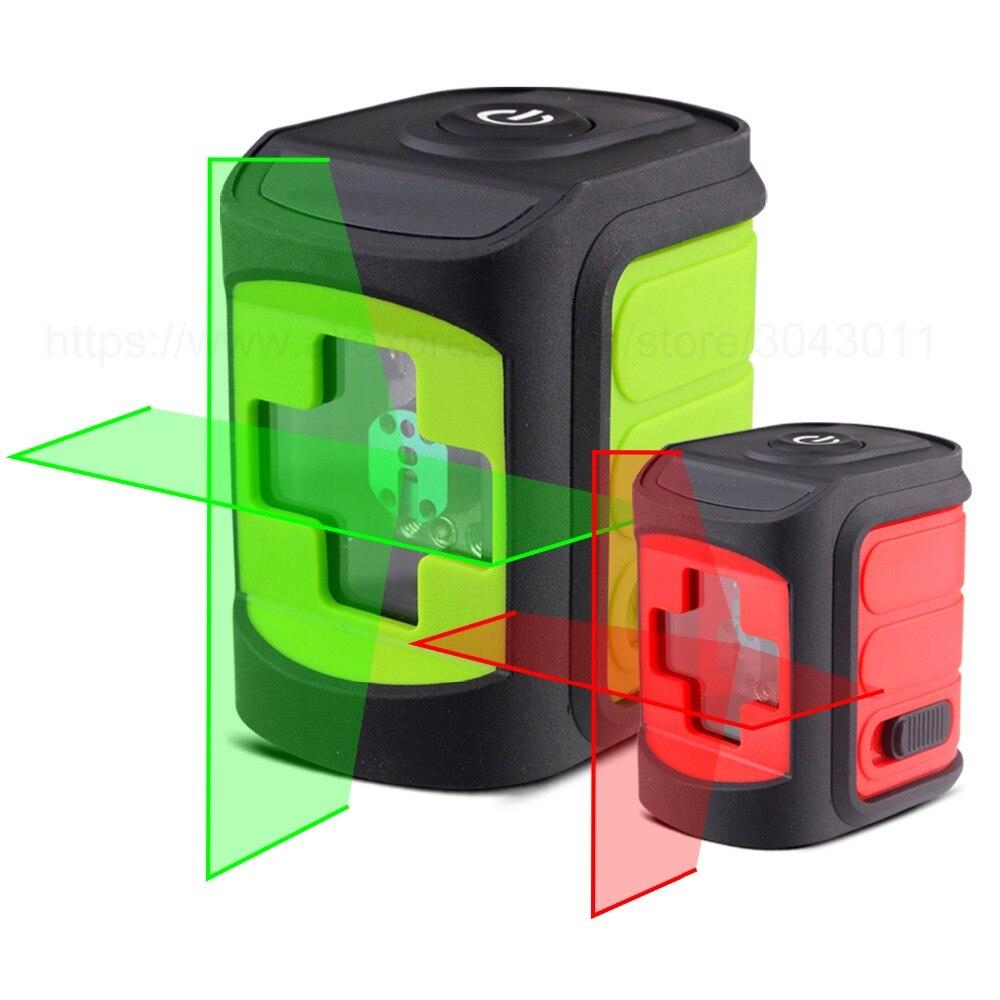 Przenośny czerwony/zielony 2 linii poziom lasera samopoziomujący w pomieszczeniach, jak i na zewnątrz poziome i pionowe krzyż linia przybory do dekoracji