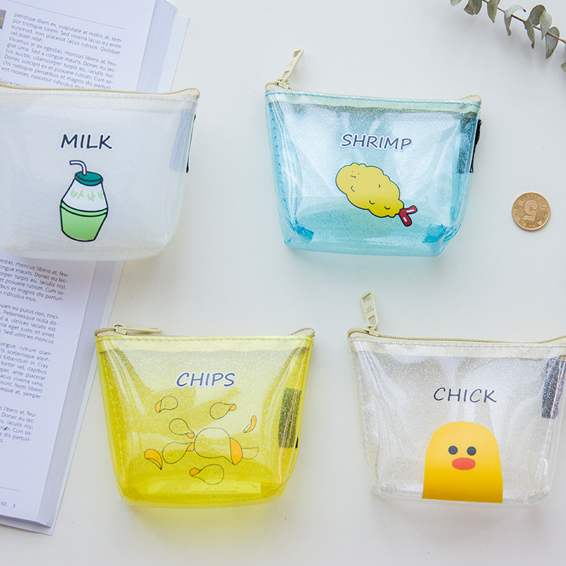 2017 New Portable Mini PVC transparent Zipper Bag Candy color  jelly coin purses child girl&student women purse Storage bag