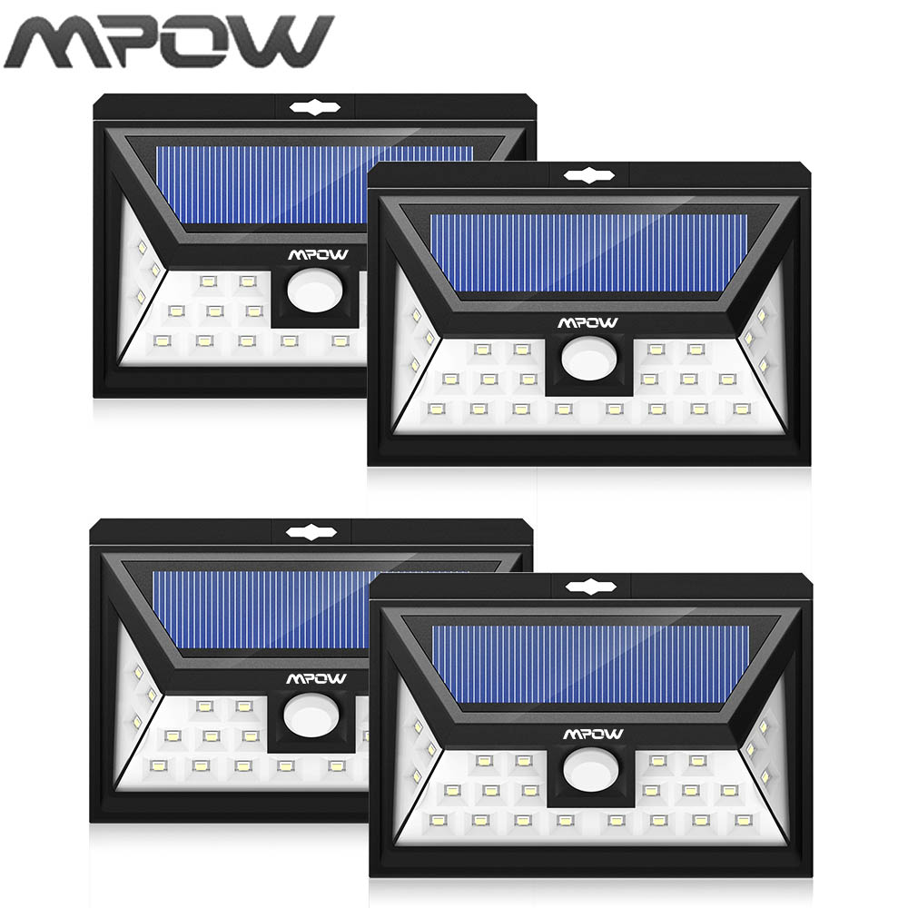 Mpow 24 LED solar lighting 4 pcs IP65  Wide Angle Security Motion Sensor Light with 3 Modes Motion Activated for outdoor Garden solar motion sensor light with 60 led rechargeable wireless led security lights with 3 modes for garden patio yard driveway
