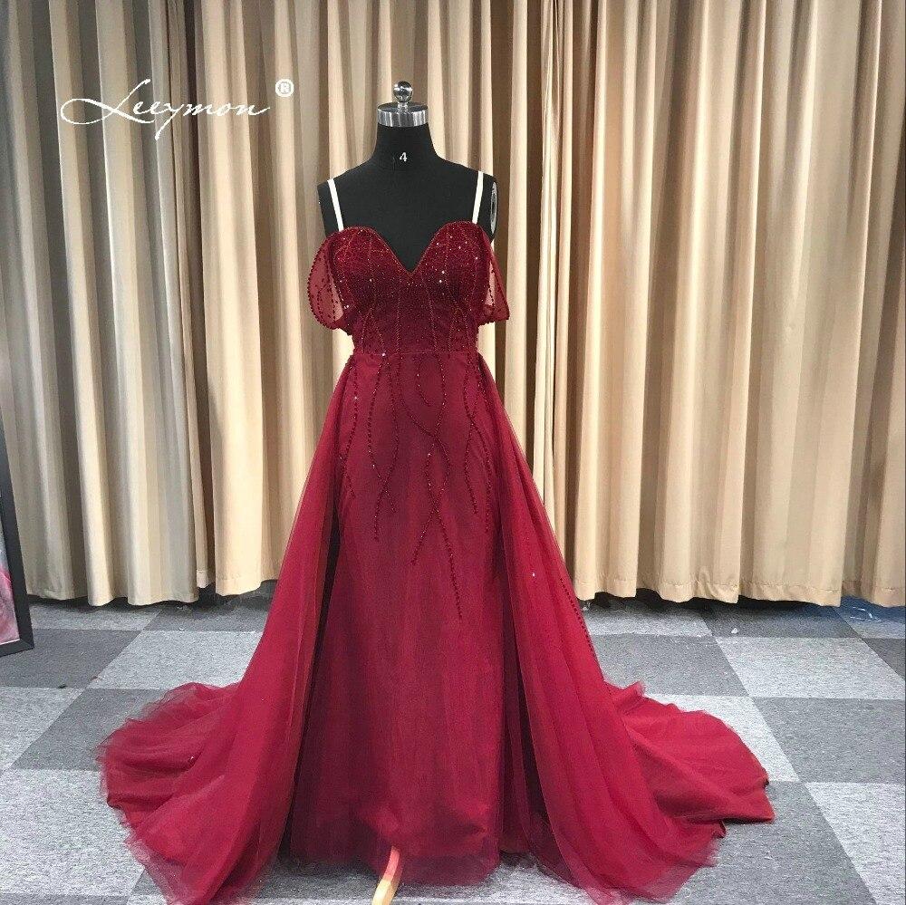 Leeymon 2019 robe de soirée sur mesure epaules dénudées avec bretelles perles longueur au sol rouge foncé