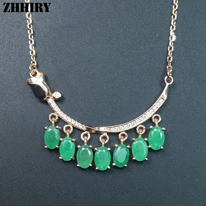 ZHHIRY Green Emerald Halskette Anhänger natürlichen Edelstein - Edlen Schmuck - Foto 4