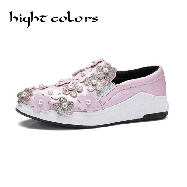 2017 Spring High Quality Women Leather Loafers Fashion  Flower Casual Flats Shoes Woman Slip On Female Shoes Moccasins Size 43