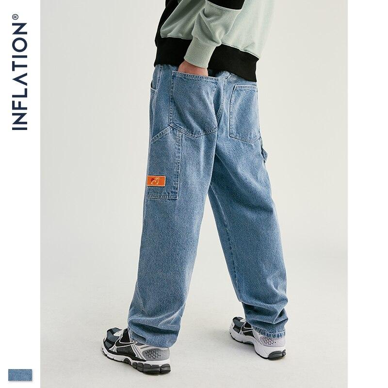INFLATION Fashion Modis Jeans Men Streetwear Loose Straight Men Jeans Pants 2019 AW Denim Men Jeans 93354W