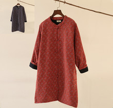 Women s winter Floral Print Casual Padded Coat Retro Thick Quilted Handmade Button Chinese Cotton Linen
