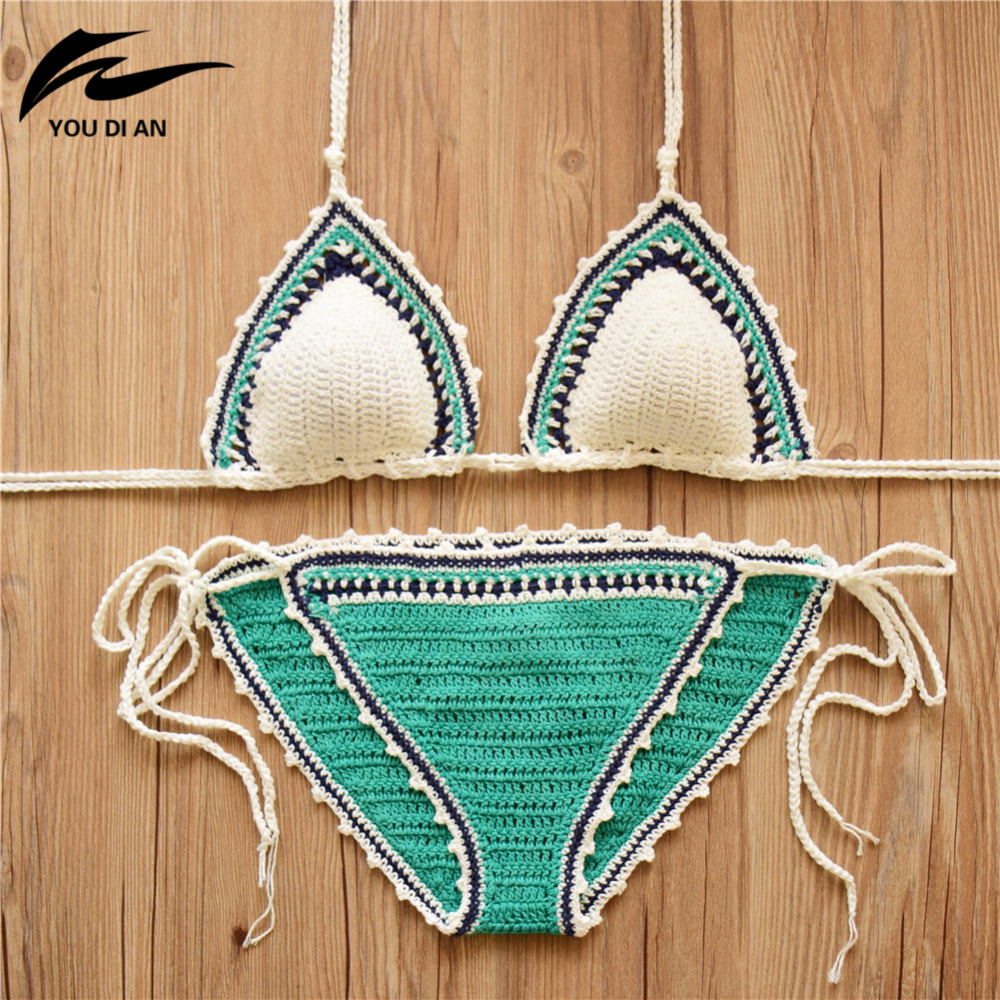 2017 Crochet Bikini Sexy Swimwear Women Halter Knitting Handmade Swimsuit Bathing Suit Brazilian Bikinis maillot de bain knitting shell swimsuit brazilian national style crochet bikini handmade halter hollow out high neck swimwear shorts for women