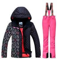 GSOU SNOW Brand Waterproof Ski Suit Women Ski Jacket Pants Winter Snowboard Jacket Pants Mountain Skiing