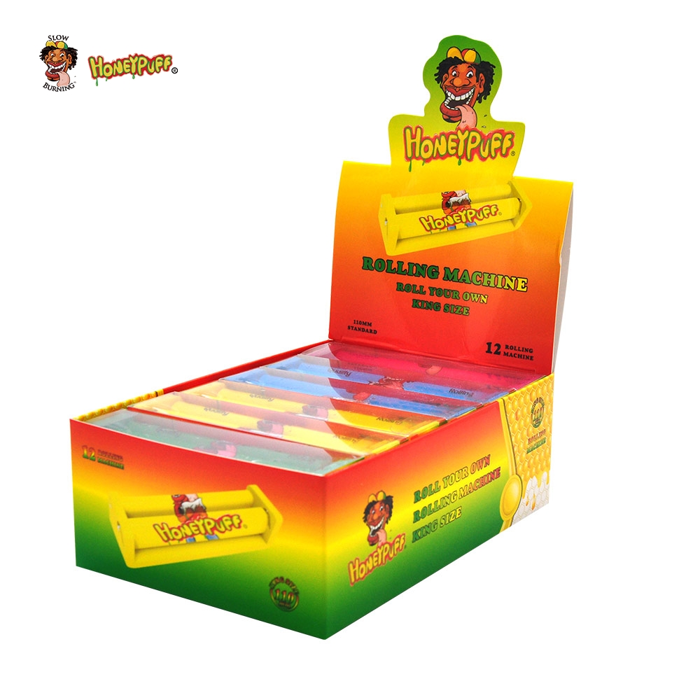 HONEYPUFF 12PCS/Box 110MM Plastic Cigarette Machine For King Size Rolling Paper Tobacco Rolling Machine Smoking Roller