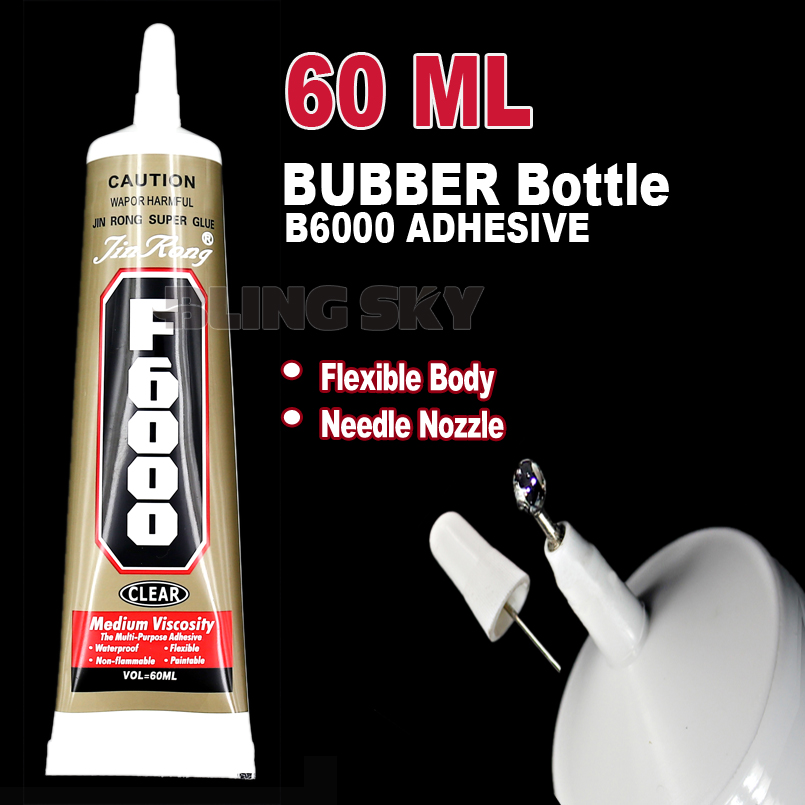 60ml F6000 Needle Nozzle Rubber Bottle Adhesive Glue ,clear gel multi purpose work for DIY nail jewelry crystals rhinestones