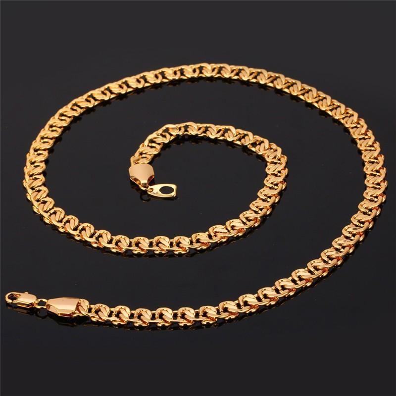 HTB1TBNCHpXXXXa7XpXXq6xXFXXXp - U7 Unique Necklace Trendy Gold/Silver Color Chain Necklaces Men Jewelry N377