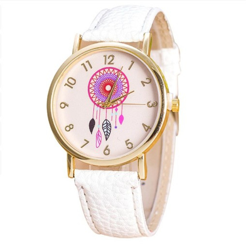 Fashion Women Dress Watch Quarzt Dream Catcher Pattern Watches Relojes Mujer PU Leather Casual Watch Clock Hours Relogio 2018