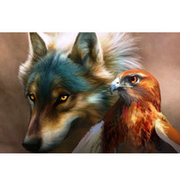 Diy Digital Oil Paintings On Canvas For Pictures Eagle And Wolf 40X50cm Home Decoration In The
