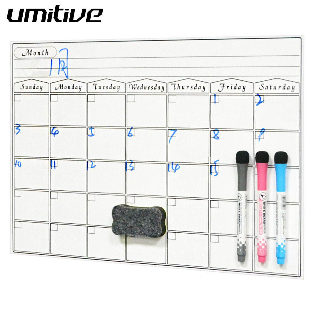Umitive 1pcs Magnetic Dry Erase Calendar For Fridge White Board Family Schedule Week Monthly Planner Waterprooftime Management
