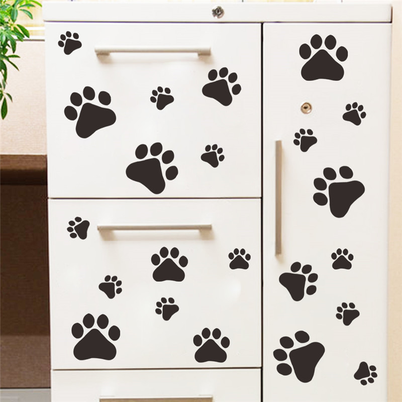 Cute Dog Footprints Wall Stickers Home Decor For Kids Rooms Cupboard Decoration Wallpaper Decals PVC Sticker Adesivo De Parede