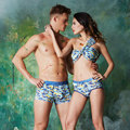Dabine kellan couple modal underwear lovers underwear couple for man and woman boxers comfortable breathable couples