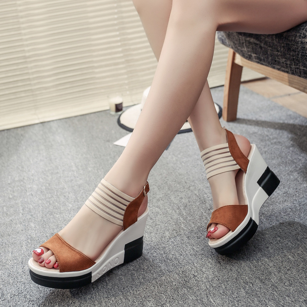new fashion Wedge women Shoes Casual Belt Buckle High Heel Shoes Fish Mouth Sandals 2019 luxury sandal women buty damskie