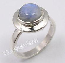 Одноцветное Серебряный удивительные синий огонь Радужный Лунный Камень Бестселлер кольцо Любой Размер