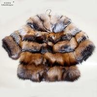 Linhaoshengyue Fashion women Silver fox fur bleaching gold coat winter fashion warm coat