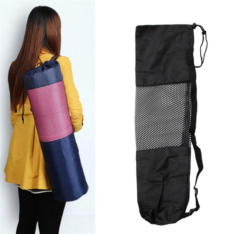 THINKTHENDO Nylon Yoga Pilates Mat Carrier Bag Mesh Center Adjustable Strap Case Portable 1pc black 66*22CM