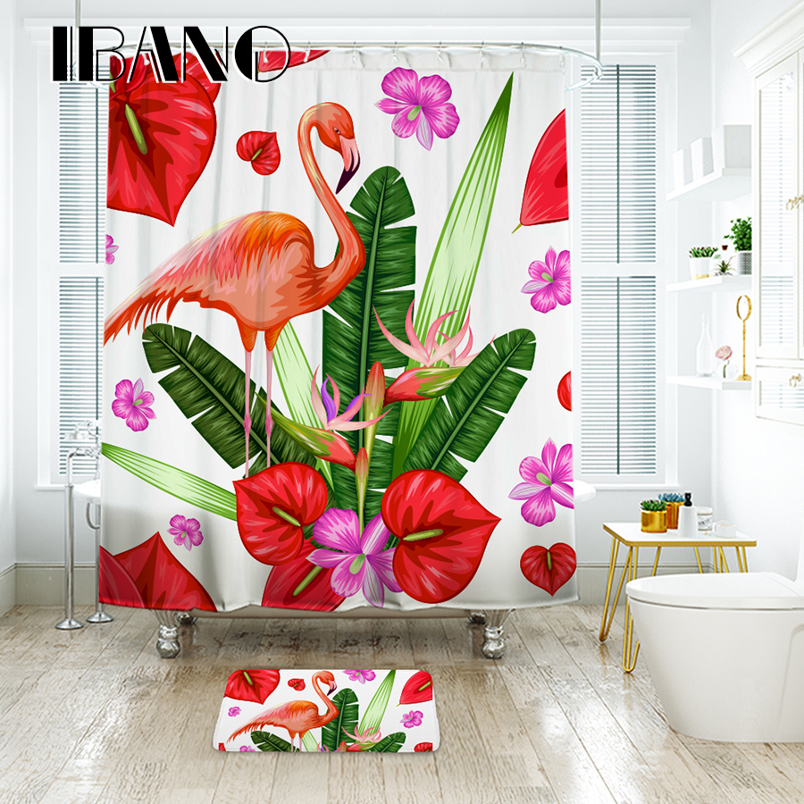 IBANO Flamingo Flowers Pattern Shower Curtain Waterproof Polyester Fabric for The Bathroom Accessories Home Decor