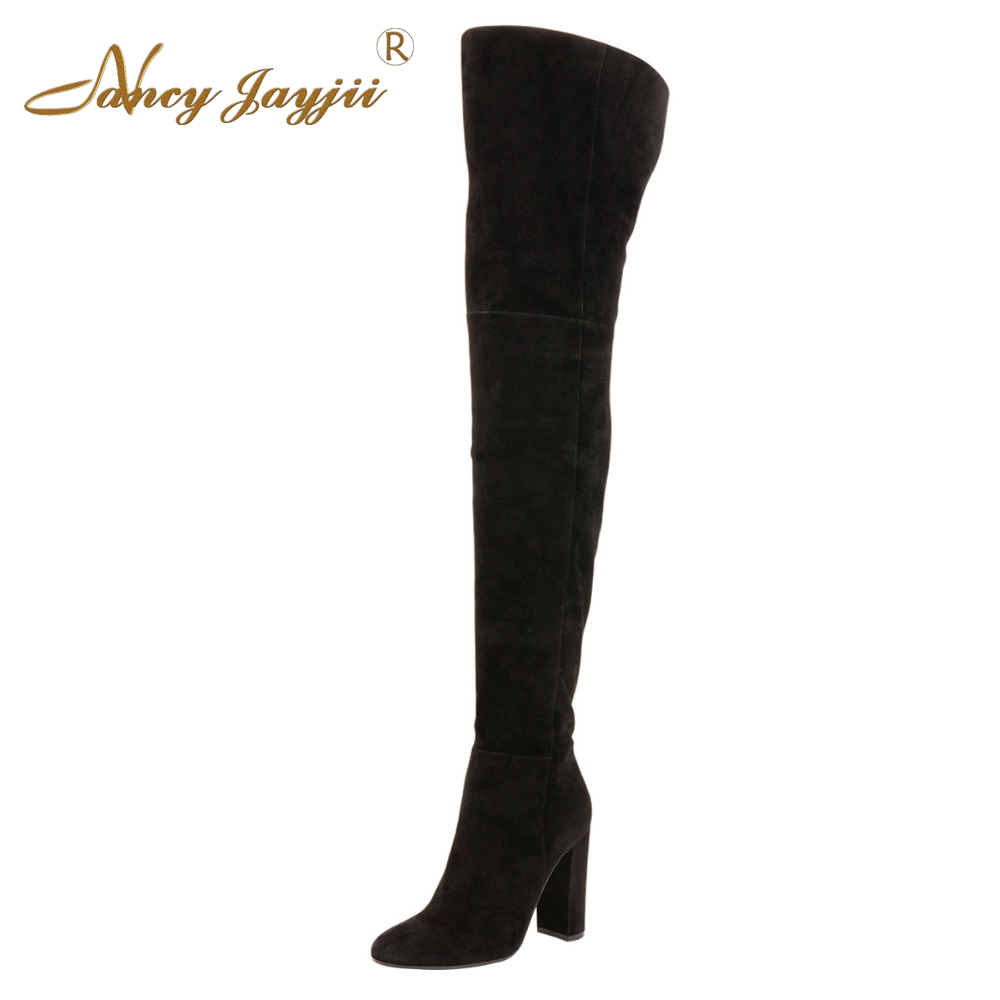 Fashion Women Winter Warm Snow Black Suede Point Toe Over the Knee Boots Shoes for Woman,Botas Mujer Plus Size 4-16 Nancyjayjii