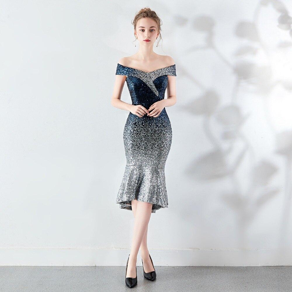 Corzzet été Sequin dégradé bretelles épaule dénudée robe formelle femmes élégant soirée Club de bal sirène robes courtes