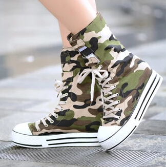 ba2e465c751 New Style Fashion Camouflage Lace Up Knee High Boots Womens Canvas Platform  Flat Casual Tall Punk
