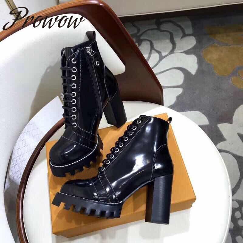 Prowow QualityBlack جديد جلد طبيعي جولة اصبع القدم منصة النساء الخريف الشتاء الأحذية الدانتيل يصل صندل بكعب مكتنز حذاء من الجلد أحذية النساء-في بوت للركبة من أحذية على  مجموعة 1