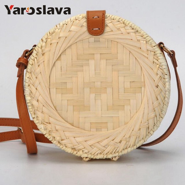 New Lady Fashion Summer Bamboo Hollow Beach Bag Handmade Rattan Woven Round  Handbag Vintage Straw Knitted