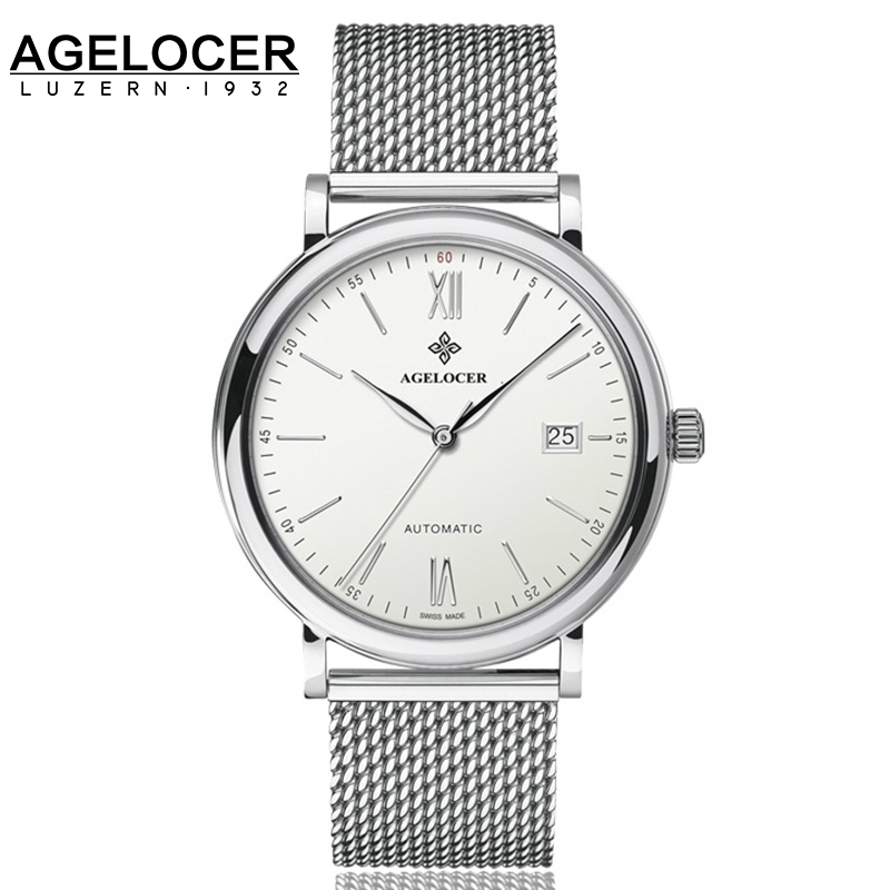 New Fashion Top Brand AGELOCER Mesh Band Watch  Full Steel Watch Date Business Lover Couple Watches Men Sapphire Wristwatches аксессуар для волос brand new coolmall sweatband head band