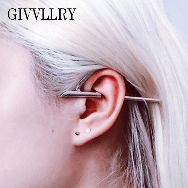 Givvllry Gothic Sword Clip Earrings S Fashion Trendy Fake Piercing On For Women Punk
