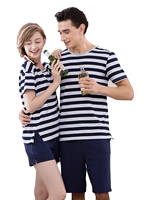 Spring Summer Lovers Striped Short Sleeved Couple Pajama Sets Women Men Cotton Casual Clothing Sleepwears 1737