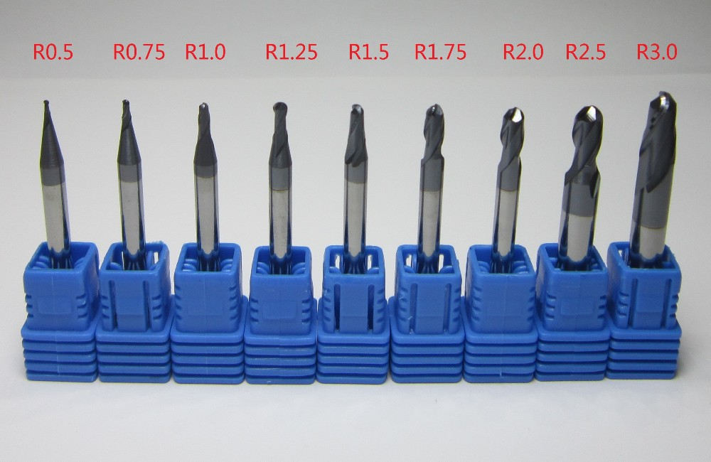 2 flutes 1mm 1.5mm 2mm 2.5mm 3mm 4mm HRC45 CNC carbide milling cutter for steel
