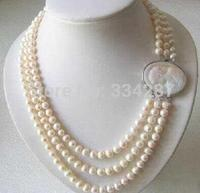 Selling Jewelry>>>Genuine 3 Rows 7 8MM Freshwater pearl Necklace Cameo Clasp