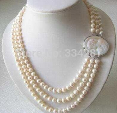 Selling Jewelry>>>Genuine 3 Rows 7-8MM Freshwater pearl Necklace Cameo Clasp genuine baroque pearl jewelry set natural freshwater pearl necklace earrings 7 8mm 4 rows magnet clasp fine jewelry for woman