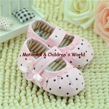 0-12M Sweet Lovlely Newborn Baby Girls Dot Pink Shoes Toddler Soft Bottom Kids Crib First Walkers 11-13 cm