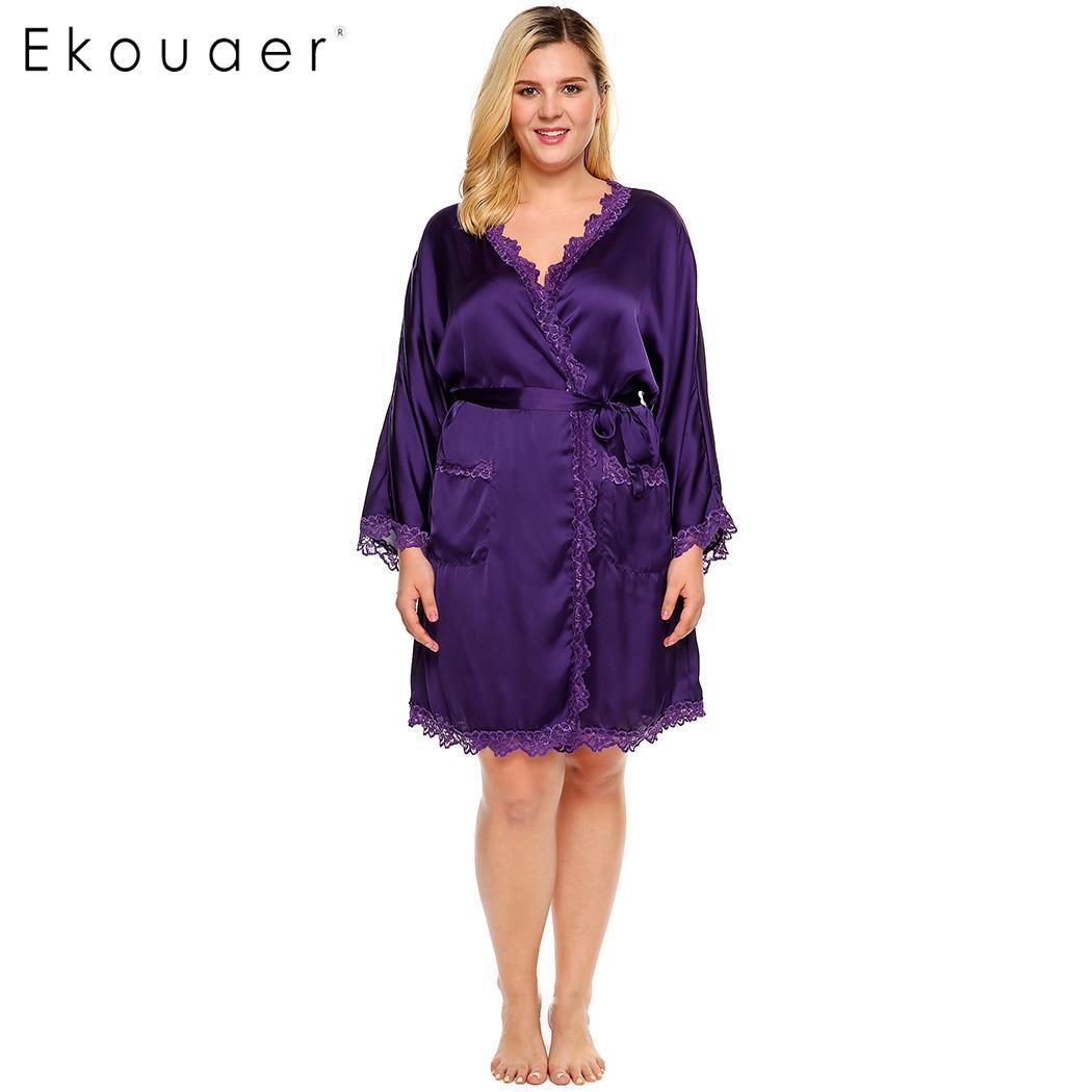 717a0207f Ekouaer Mujer Plus Size Robe ropa de dormir Kimono satén Albornoz manga  larga encaje con cinturón ropa de dormir mujer Oversize batas L-4XL