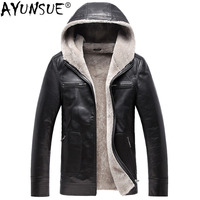 AYUNSUE Genuine Leather Jacket Men 100% Wool Natural Fur Coat Winter Jacket Men Hooded Thick Overcoat Sheepskin Jackets MY727
