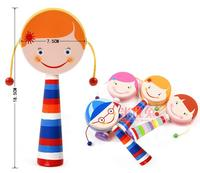 Baby Brand Wooden Rattle Toys Infant Wood Rattle Drum Music Instrument For Kids Child Orff Early
