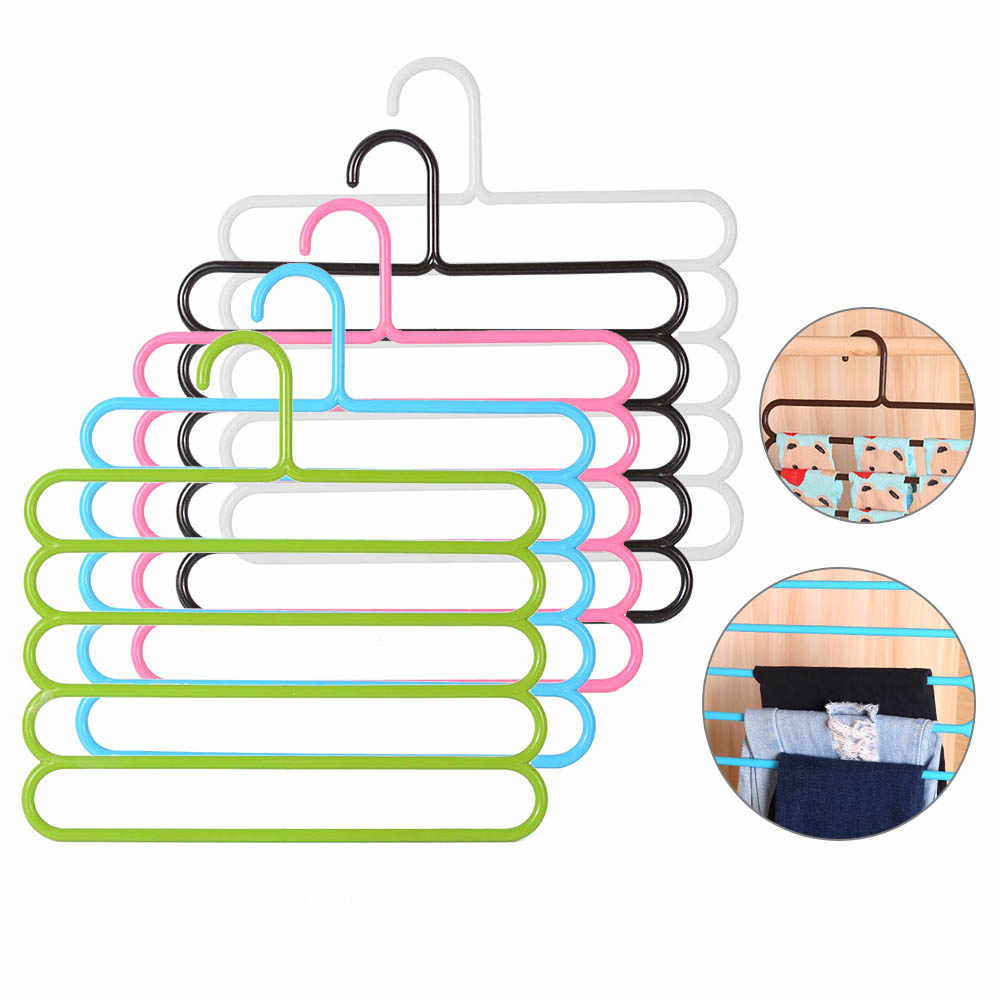 5 layers Non-slip MultiFunctional Clothes Hangers Pants Storage Hangers Cloth Rack Multilayer Storage Scarf Tie Rack Hanger 1PC