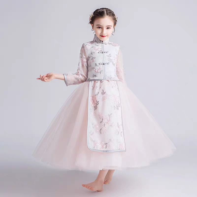 2019Summer Luxury Children Little Girls Embroidery Flowers Chinese Style Cheongsam Long Dress Kids Toddler Fashion Qipao