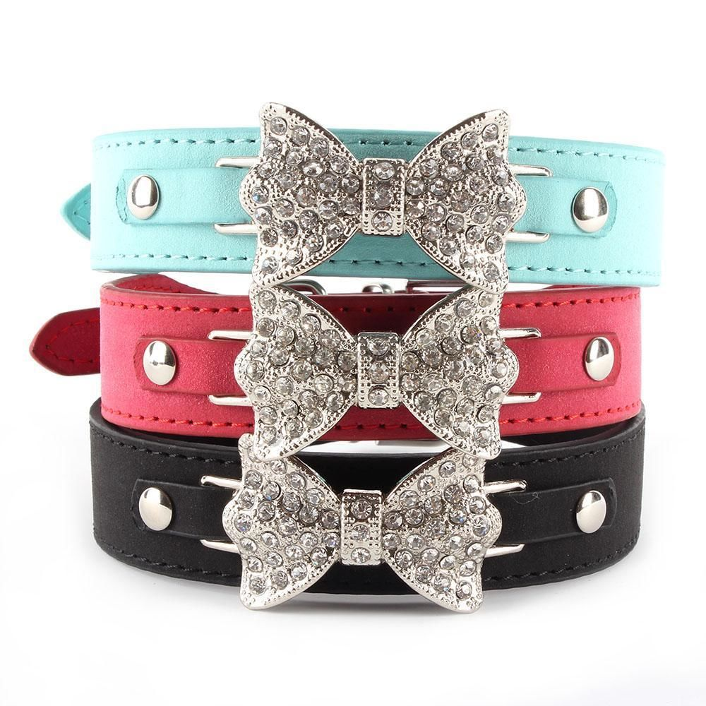 Hot Sales Dog Collar Bling Crystal Bow Leather Pet Collar Puppy Choker Cat Necklace XS S M