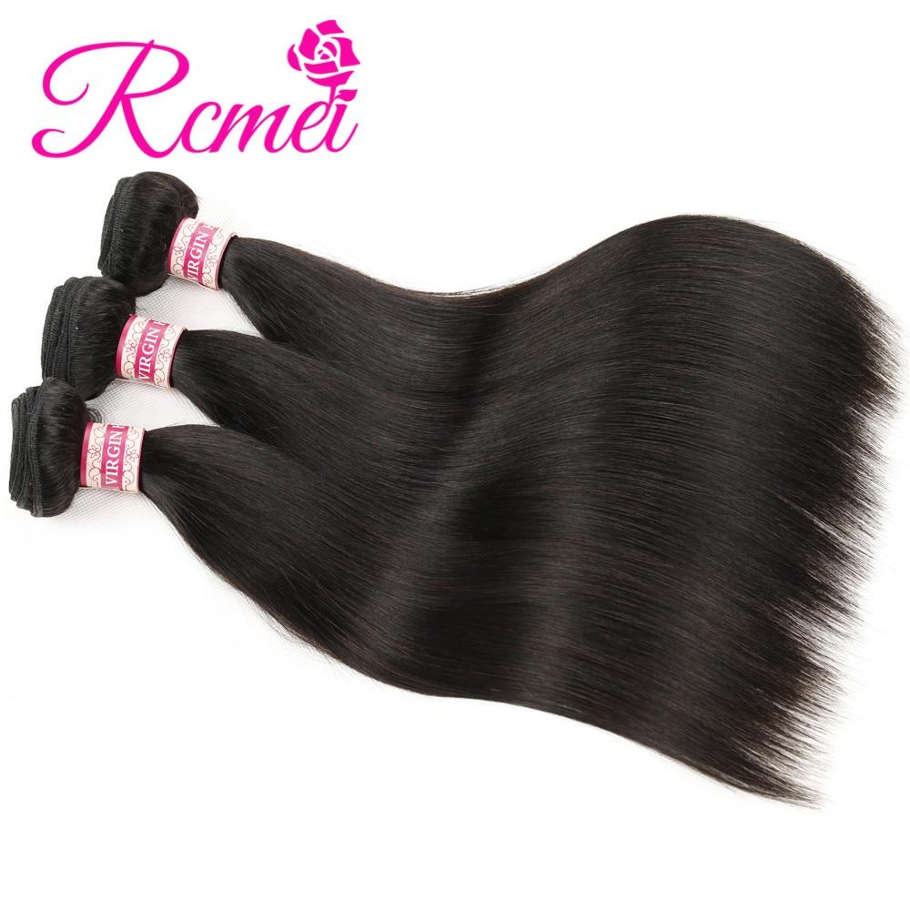 Rcmei Hair Malaysian Virgin Hair Straight Bundles Natural Black Color 100% Human Hair Weaving 12-30 Inch Unprocessed Virgin Hair
