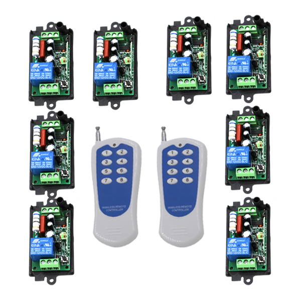 AC 110V 220v 10A relay 1CH 315MHz wireless RF Remote Control Switch 2 Transmitter+ 8 Receiver SKU: 5448 new arrival for ac 220v 1ch small channel wireless remote control radio switch 315mhz 1 transmitter 3 receiver 200m sku 5226
