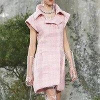 Розовое платье женские элегантные однотонные с рубашечным рукавом отложным воротником мини платье для леди 2018 новые женские платье
