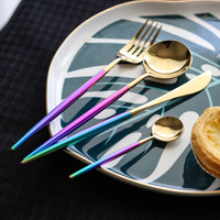 24 шт. корейский Радужный набор столовых приборов 18/8 столовая посуда из нержавеющей стали набор Западная еда красочные столовые приборы наб
