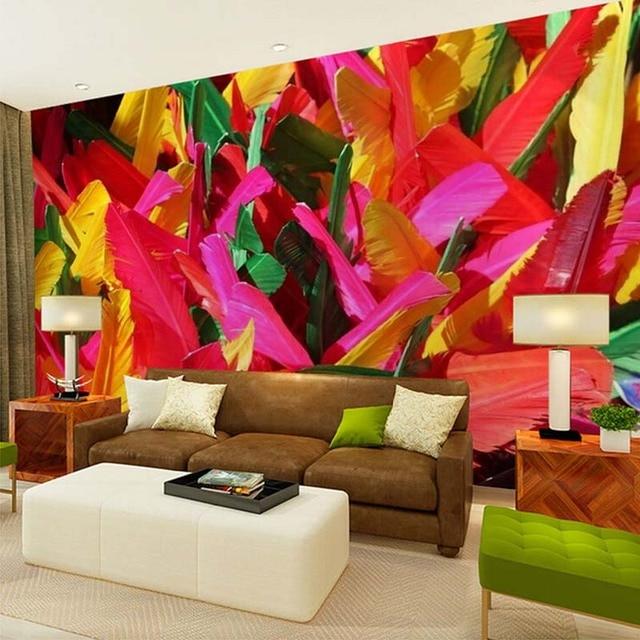 Modern Childrens Room With Colourful Wall Art: Custom 3D Mural Wallpaper Modern Abstract Wall Art Decor